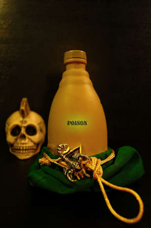 small bottle with poison of a scorpion Stock Photo