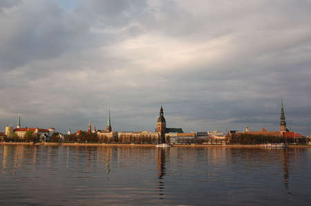 Riga old town behind the river Daugava