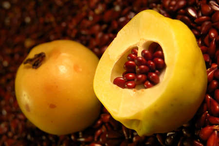 The cut fruit of a quince against seeds Stock Photo