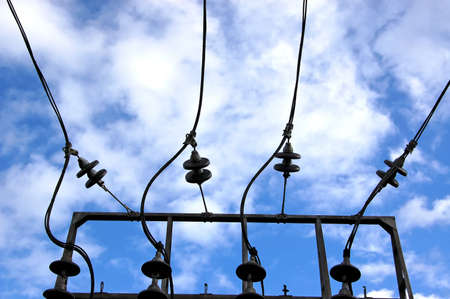 The equipment of electric substation against the sky