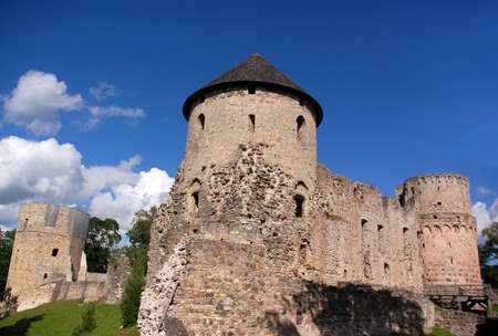 Ruins of the ancient castle in the Latvian city Cesis