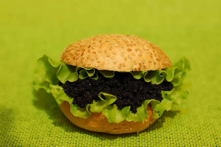 Black caviar burger on a green background