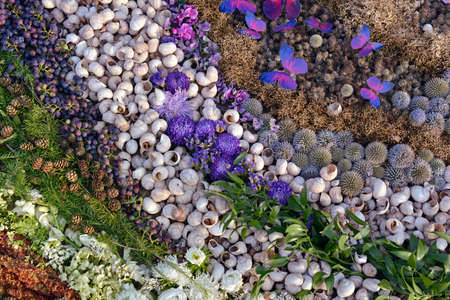 Floral carpet made of natural elements