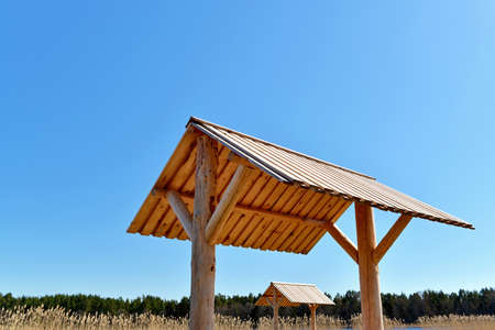 Small wooden roofs for shelter 版權商用圖片