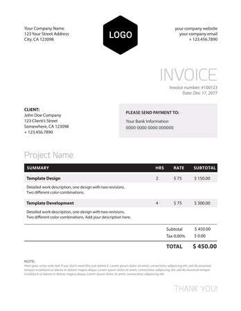 Invoice template - classy black and white business design template for your company. Very useful timeless design template in letter format, all information is very well structured.