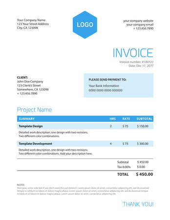 Invoice template - blue color minimalist clean and clear design  Illustration
