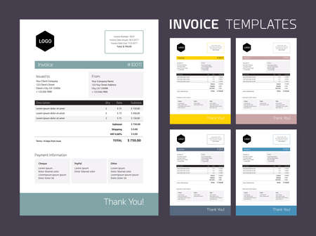 Invoice Template Set : beautiful subtle colors