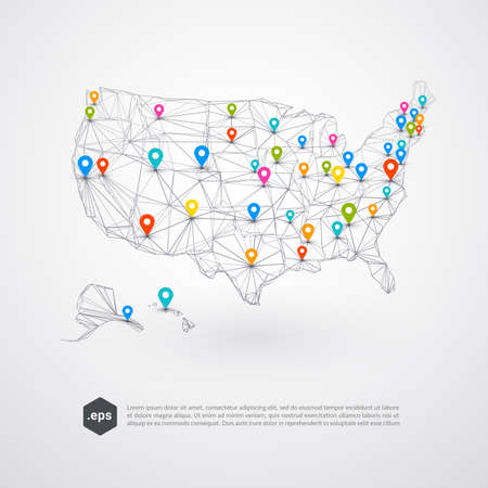 Abstract background of USA with colorful pins on a map - vector illustration