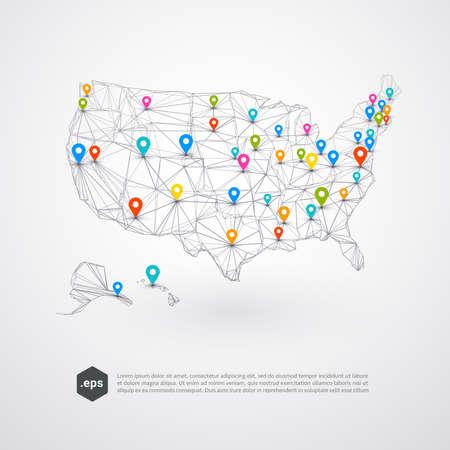 Abstrakter Hintergrund von USA mit bunten Stiften auf einer Karte - Vektor-Illustration
