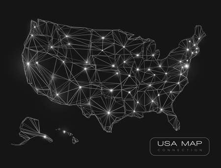 United States map abstract vector background - black and white glowing lines connected on a dark solid color background