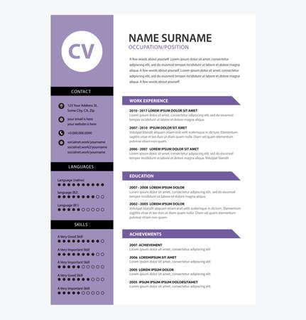 Minimalist CV template ultra violet color - vector