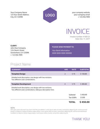 Minimalist business invoice template - trendy ultra violet color of the year - letter format