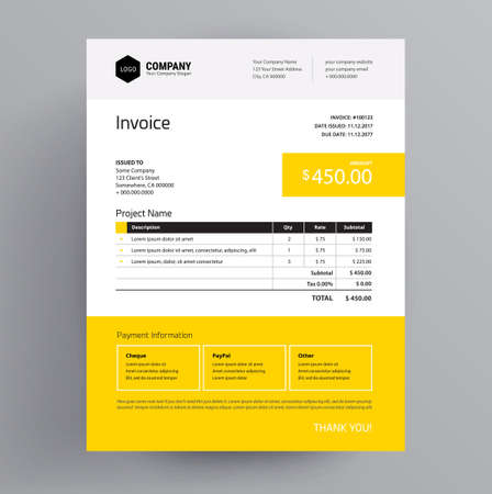 Invoice template design - in yellow color - us letter - company bill creative business template.