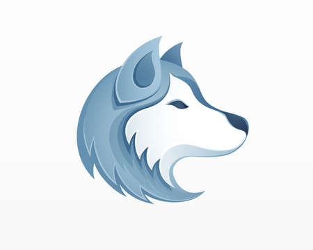 Husky dog's head vector illustration.
