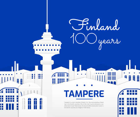 Tampere Finland city vector illustration - great graphic for poster design - travel in Finland - blue and white color background - Tampere main tourist attractions and landmarks concept.