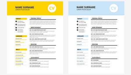 Resume design template yellow and dark blue - vector template