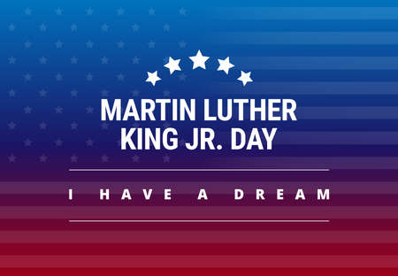 Martin Luther King Jr Day greeting card - I have a dream inspirational quote - horizontal blue and red background banner with US flag - vector Çizim