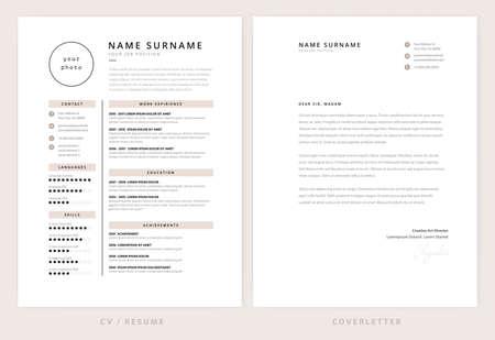 CV / resume and cover letter template - elegant stylish design - beige color background vector