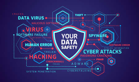 Cyber security concept infographics - technology shield icon on digital background - infographic illustrates cyber data security and information privacy protection idea - vector technology background