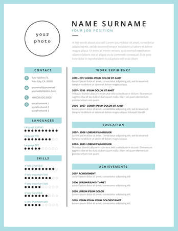 Stylish CV resume minimalist template mint color vector layout. Illustration