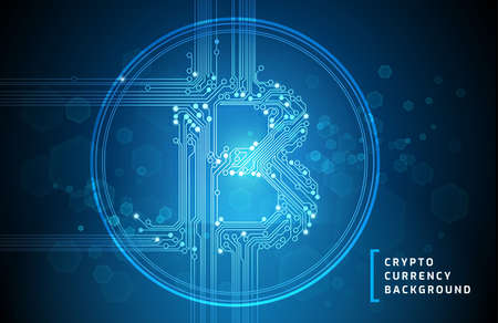 Bitcoin business abstract blue background - vector illustration Vectores