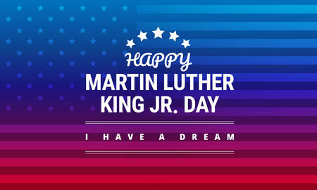 Martin Luther King Jr Day greeting card, I have a dream inspirational quote in horizontal blue and red background banner with US flag vector. Иллюстрация