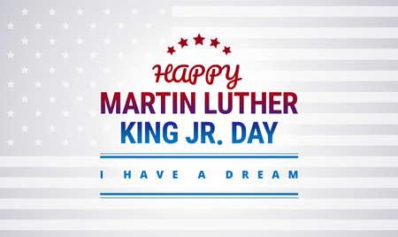 Glückliche Martin Luther King Day Nationalfeiertagsfahnenentwurfs-Vektorillustration schöne Typografie. Vektorgrafik