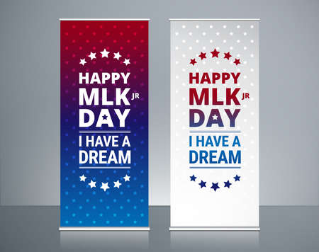 Martin Luther King Jr Day roll ups banners design, MLK day celebration abstract roll up vector backgrounds.