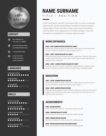 Bold CV resume minimalist modern sleek design  black and white business vector. 일러스트