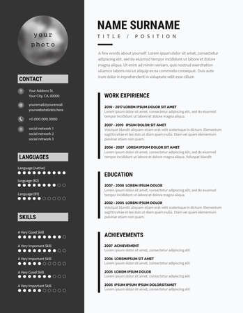 Bold CV resume minimalist modern sleek design  black and white business vector. 向量圖像