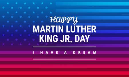 Tarjeta de felicitación del día de Martin Luther King Jr, tengo una cita inspiradora ideal, bandera azul y roja horizontal del fondo con vector de la bandera de los EEUU