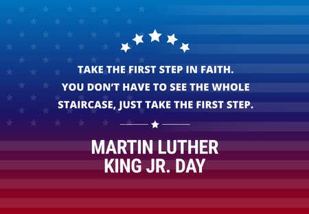 """Fond de vecteur de vacances Martin Luther King Jr jour - citation inspirée au sujet de la première étape """"Faites le premier pas dans la foi.Vous n'avez pas à voir l'escalier entier, juste faire le premier pas."""" Banque d'images - 93246381"""