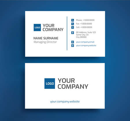 Stylish business card template vector - blue and white color - minimalist front and back design, two sides layout Stock Vector - 93920671