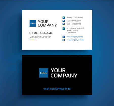 Stylish business card template vector blue black and white stylish business card template vector blue black and white color minimalist front colourmoves
