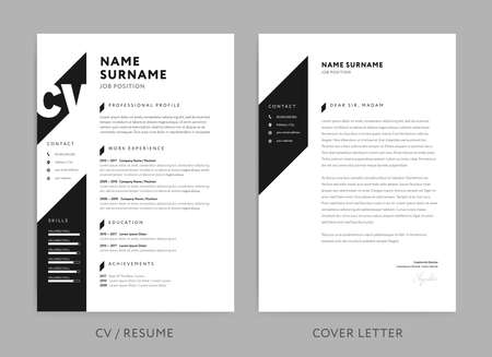 Minimalist CV  resume and cover letter - minimal design - black and white background vector - stylish minimalism