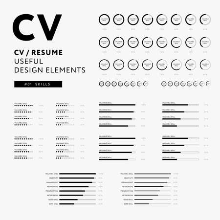 CV Resume design elements - Skills icons set - minimal iconography vector - black and white infographics