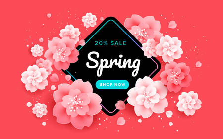 Red spring sale banner with beautiful flowers on a red background. Banner great for poster design, promotions, advertising, website, email header. Vector illustration Illustration