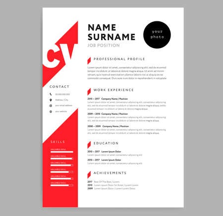 Creative CV  resume template with red color background vector