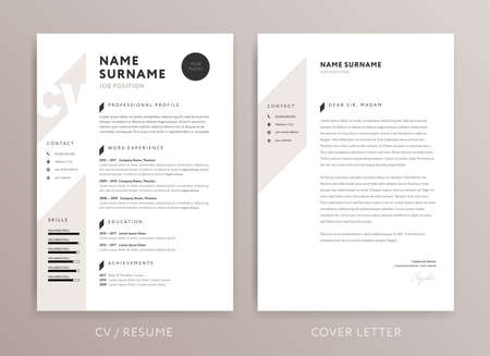 Stylish CV design - curriculum vitae cover letter template - rose brown color background - vector Ilustracja