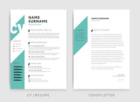 Creative CV / resume template with teal green background