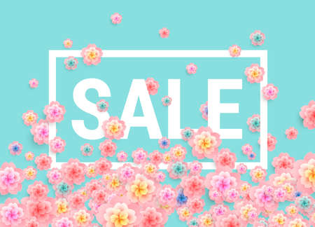Sale banner design with beautiful flowers Illustration
