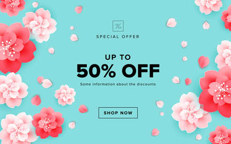Spring sale design with beautiful flowers - cherry blossom on green background - vector for banner, poster, website illustration, email header template
