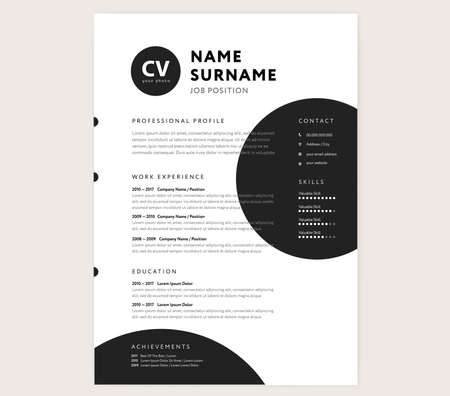 CV / resume template - creative stylish curriculum vitae design vector - minimal style geometric circle shapes
