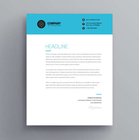 Elegant letterhead / cover letter template design in minimalist style - blue color header - vector design Vectores