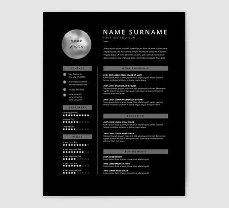 Cool black resume template design for a designer or programmer.