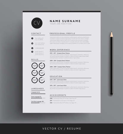 Professional minimalist resume template design. Stock Vector - 97756719