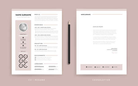 Elegant dusty rose resume and cover letter template design.