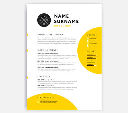 Yellow CV resume template - curriculum vitae sample vector design with circle background