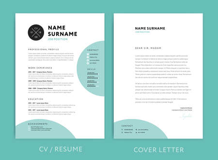 Creative CV / resume template teal green background color minimalist vector