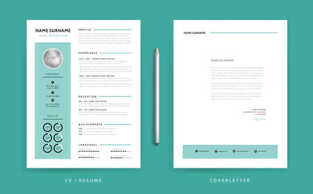 CV / Resume design template and cover letter design green background vector